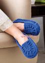 Комфортные синие тапочки - слипперы. Крючок