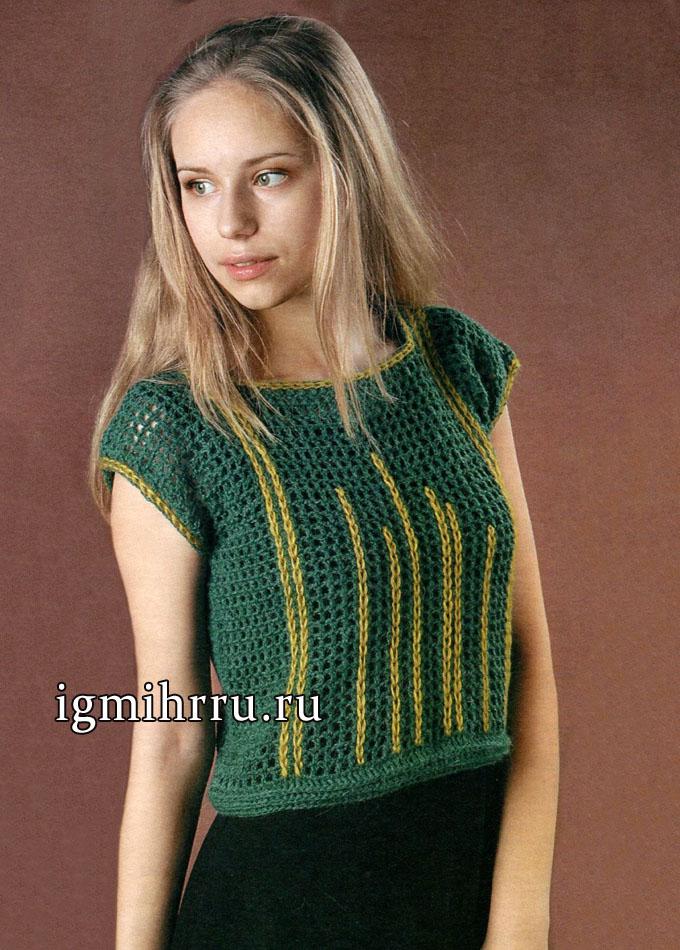 Топ из филейной сетки, украшенный контрастной вышивкой. Вязание крючком