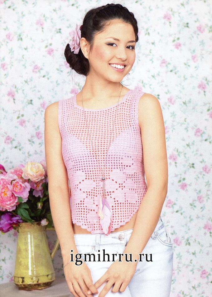 Розовой филейный топ с цветочными мотивами. Вязание крючком