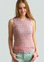 Розовый топ с плетеным узором. Крючок