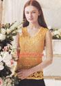 Желтый топ-сетка с цветочным декором. Крючок