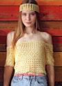 Летний желтый топ с открытыми плечами и налобная повязка. Крючок