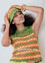 Яркий летний комплект: пестрый топ и шляпка. Крючок