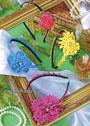 Разноцветные ободки для волос, с цветами. Крючок