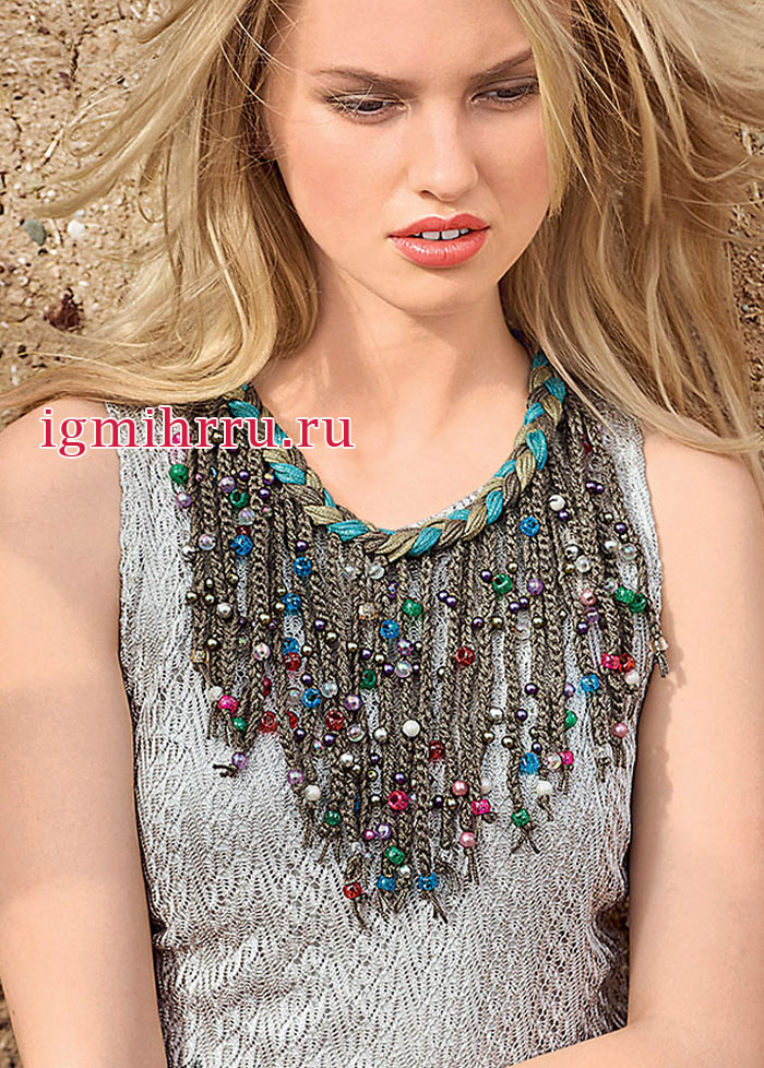 Модные украшения: ожерелье с бусинами и браслеты с шишечками. Вязание крючком