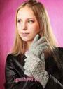 Серые перчатки с узором из ракушек. Крючок