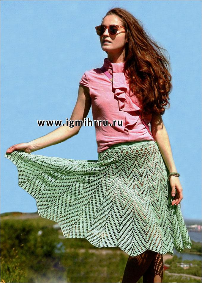 Ажурная летняя юбка цвета мяты. Крючок