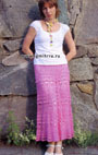Длинная юбка Розовые мечты, связанная вкруговую. Крючок