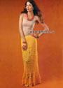 Длинная узорчатая юбка желтого цвета. Крючок