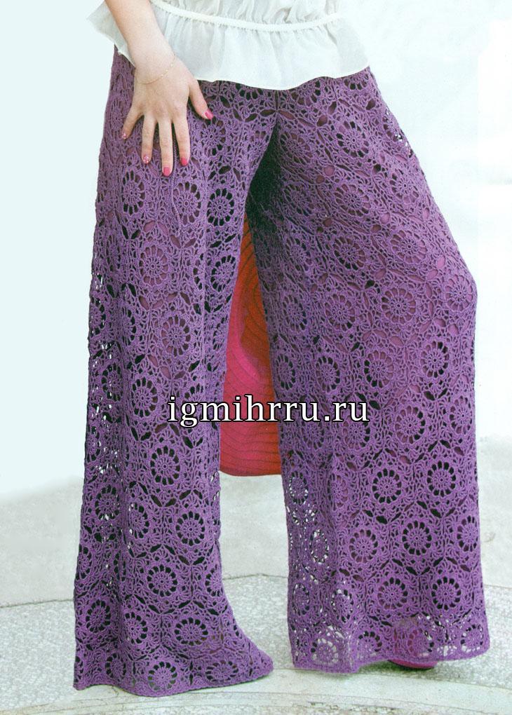 Темно-лиловые летние брюки из мотивов. Вязание крючком