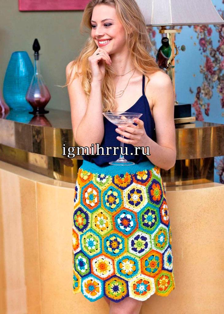 Летняя юбка из цветных мотивов. Вязание крючком