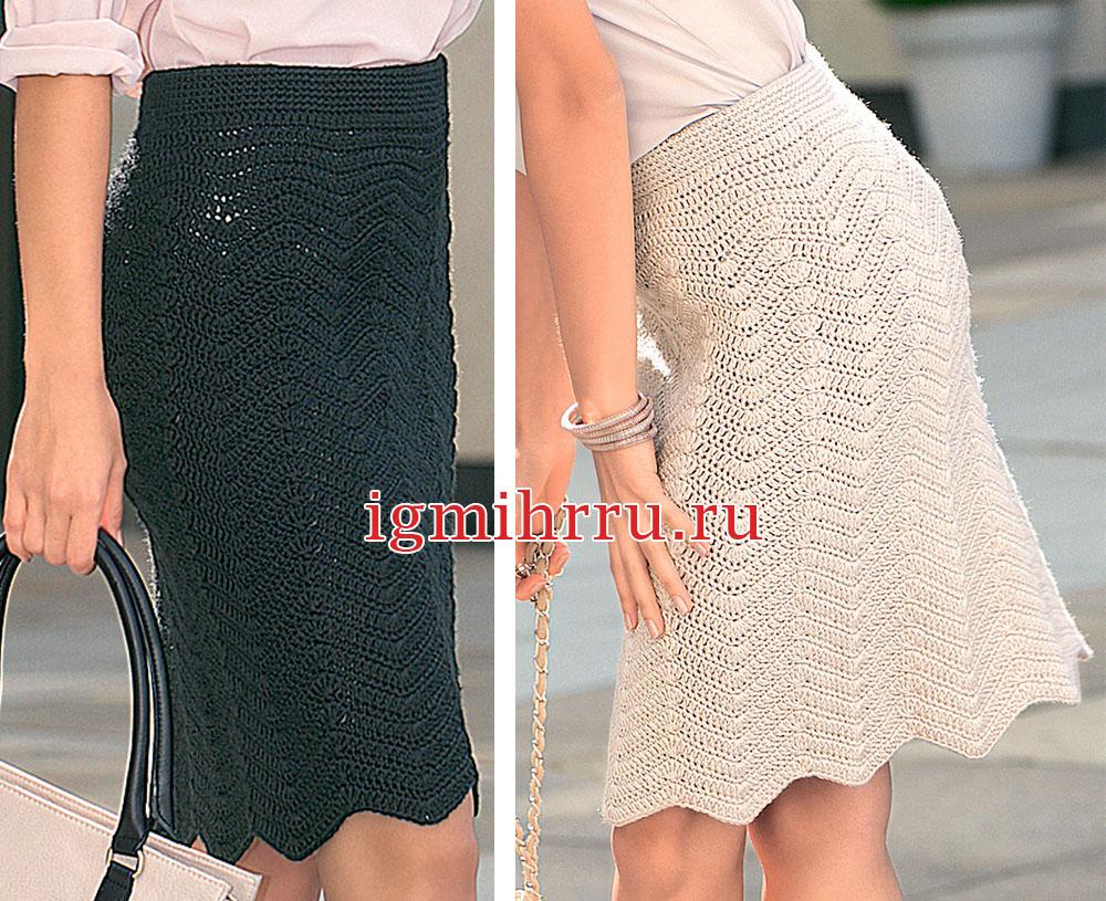 Ажурная юбка с фигурным краем. Вязание крючком