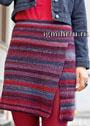 Разноцветная шерстяная юбка с разрезом. Крючок