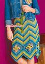 Многоцветная юбка с зигзагами и ромбами из ажурных цветов. Крючок