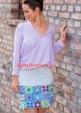 Летняя юбка с широкой каймой из цветочных мотивов. Крючок