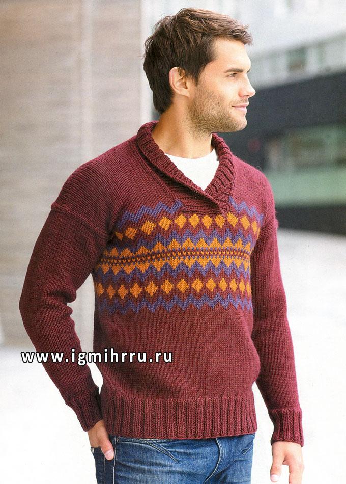 Теплый мужской пуловер с орнаментом, от финских дизайнеров. Спицы