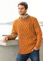 Теплый мужской пуловер с рельефным узором. Спицы