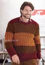 Мужской трехцветный джемпер с миксом красивых узоров. Спицы