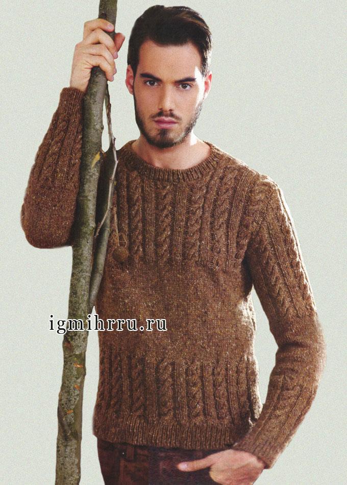 Светло-коричневый мужской пуловер из шерсти с твидовым эффектом, от итальянских дизайнеров. Спицы