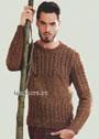 Светло-коричневый мужской пуловер из шерсти с твидовым эффектом. Спицы
