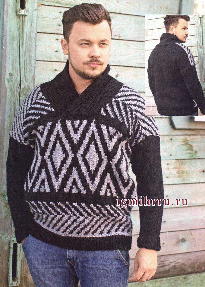 Теплый мужской пуловер с жаккардовыми узорами. Спицы