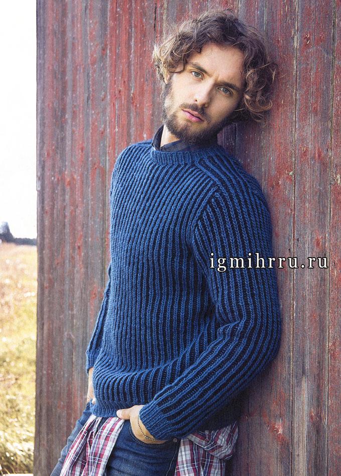 Мужской двухцветный пуловер из чистошерстяной пряжи, от финских дизайнеров. Спицы
