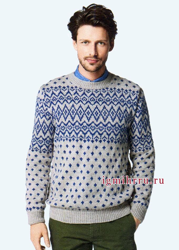 Мужской пуловер с жаккардовым рисунком, от Bergere de France. Спицы