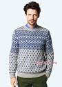 Мужской пуловер с жаккардовым рисунком. Спицы