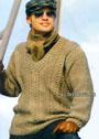 Бежевый мужской пуловер с косами. Спицы
