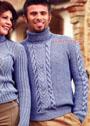 Серо-голубой мужской свитер с ирландскими узорами. Спицы