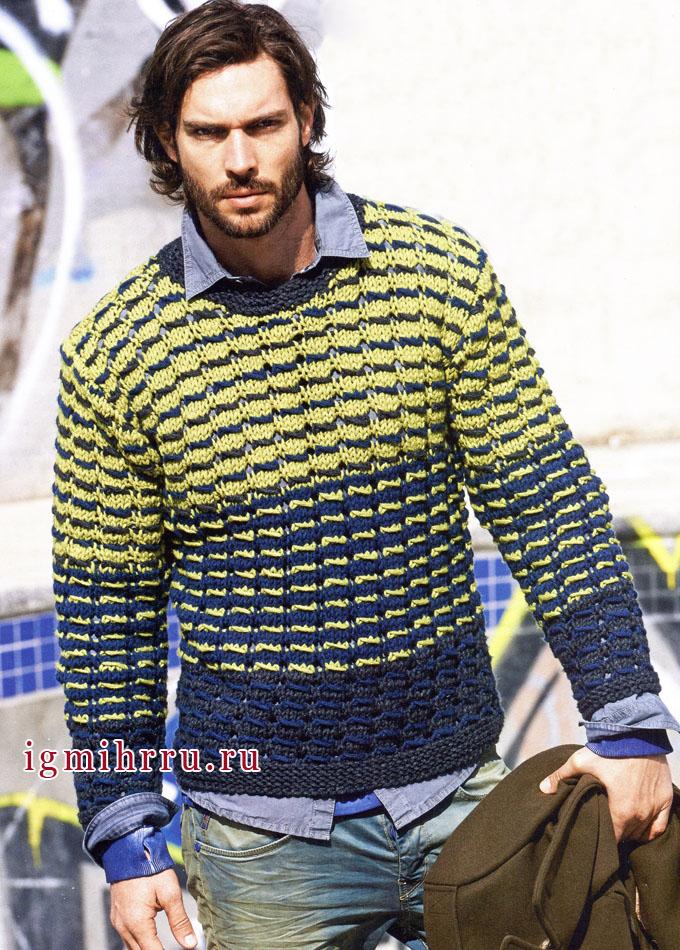 Трехцветный мужской пуловер. Вязание спицами