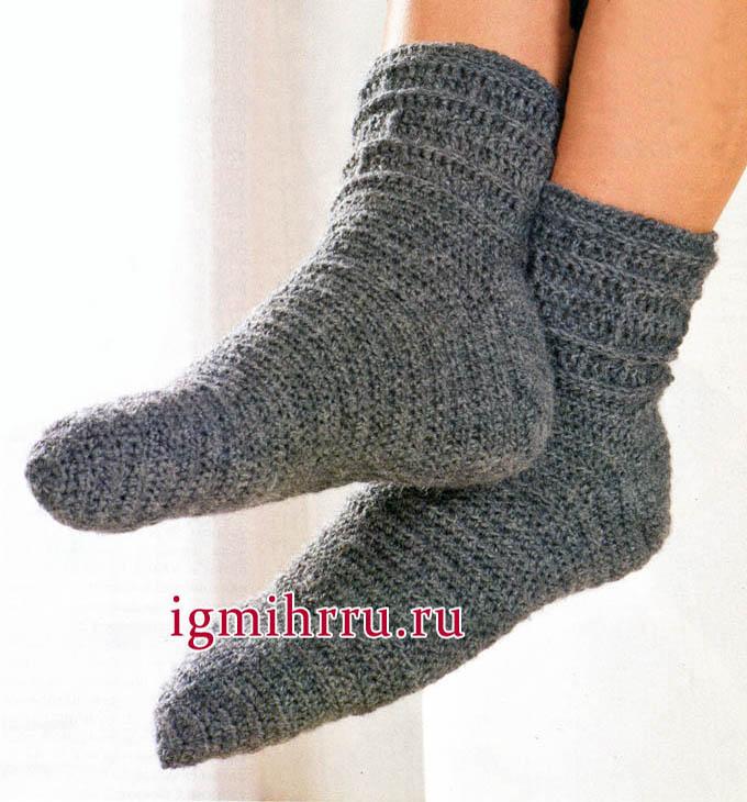 Серые мужские носки. Вязание крючком