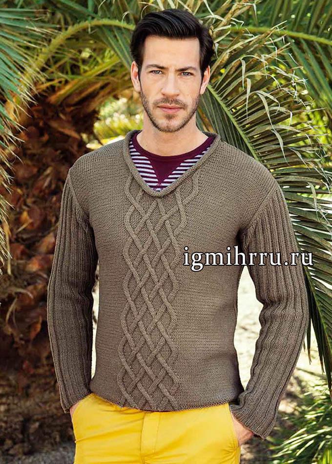 Мужской серо-коричневой пуловер с узором из ромбов, от Lana Grossa. Вязание спицами