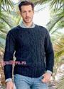 Темно-синий мужской пуловер с косами. Спицы