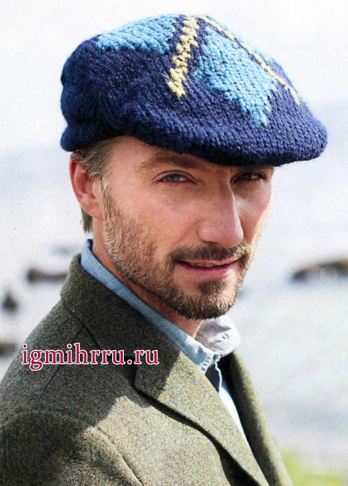 Мужская кепка в шотландском стиле. Вязание спицами