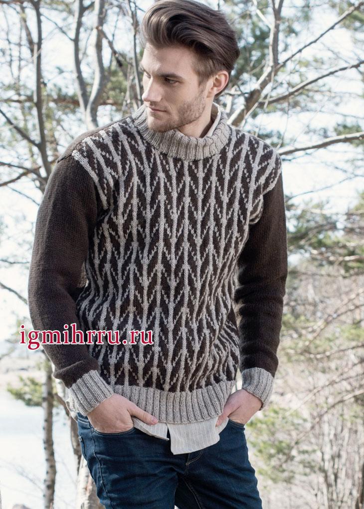 Мужской шерстяной пуловер с рисунком «в елочку», от финских дизайнеров. Вязание спицами