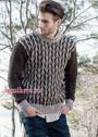 Шерстяной мужской пуловер с рисунком в елочку. Спицы