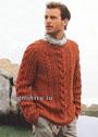Мужской пуловер из мериносовой шерсти терракотового цвета, с косами разных видов. Спицы