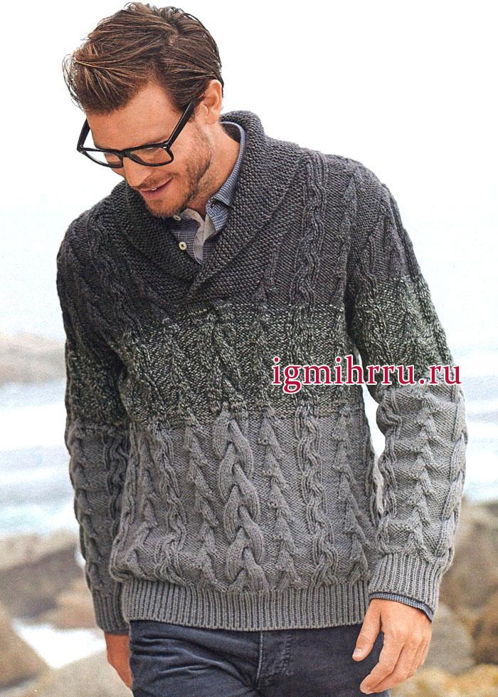 Мужской пуловер с воротником шалька и узорами из кос. Вязание спицами