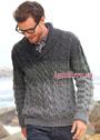 Мужской пуловер с воротником шалька и узорами из кос. Спицы