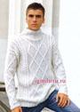 Мужской белый свитер с узорами из кос и ромбов. Спицы