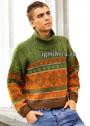 Мужской шерстяной свитер с жаккардовыми узорами. Спицы