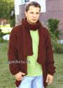 Теплый мужской жакет и шарф коричневого цвета, с узорами из ромбов. Спицы
