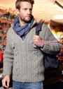 Мужской серый жакет с миксом узоров из кос, застежкой-молнией и нагрудными карманами. Спицы