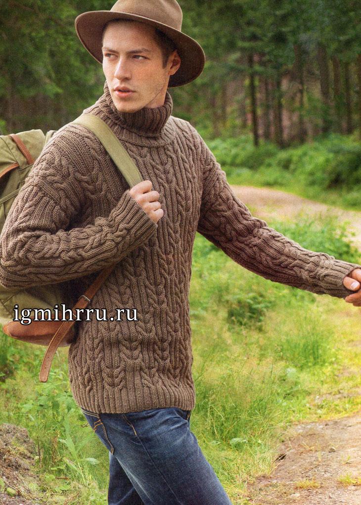 Мужской коричневый свитер с косами. Вязание спицами