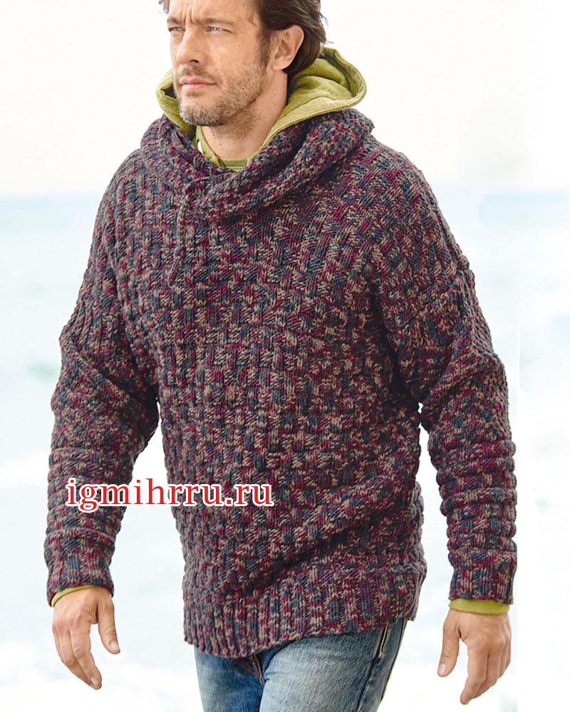 Мужской меланжевый пуловер с капюшоном. Вязание спицами
