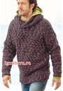 Мужской меланжевый пуловер с капюшоном. Спицы