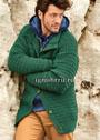 Зеленый мужской жакет с рельефным узором. Спицы