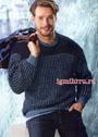 Мужской теплый пуловер в синих тонах. Спицы