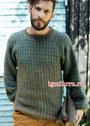 Мужской пуловер с вертикальными полосками и клетками. Спицы